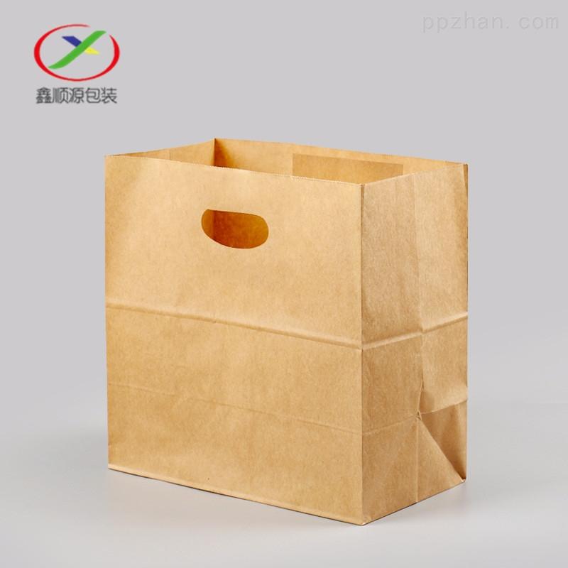 泉州批发冲孔牛皮纸手提袋方底外卖打包袋厂
